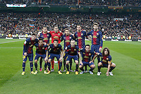 30.01.2013 SPAIN -  Copa del Rey 12/13 Matchday 1/4  match played between Real Madrid CF vs  F.C. Barcelona (1-1) at Santiago Bernabeu stadium. The picture show F.C. Barcelona Team Group Liune-up