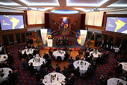 Colombia's president Juan Manuel Santos addresses business leaders during a business and civic lunch at Titanic Belfast.