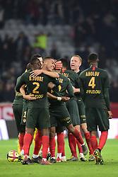 March 15, 2019 - Lille, France, FRANCE - joie des joueurs de Monaco en fin de match.VINICIUS Carlos  (Credit Image: © Panoramic via ZUMA Press)