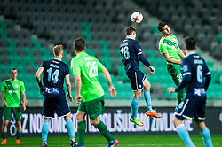 Rok Grudina of Gorica vs Daniel Avramovski of Olimpija during football match between NK Olimpija Ljubljana and ND Gorica in Round #26 of Prva liga Telekom Slovenije 2016/17, on March 29, 2017 in SRC Stozice, Ljubljana, Slovenia. Photo by Vid Ponikvar / Sportida