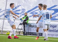 Målscorer Elijah Just (FC Helsingør) jubler med Sebastian Czajkowski og Jeppe Kjær efter scoringen til 1-0 under kampen i 1. Division mellem FC Helsingør og Vendsyssel FF den 18. september 2020 på Helsingør Stadion (Foto: Claus Birch).