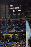 Photo: Paul Thomas.<br />Manchester City v Scunthorpe United. The FA Cup.<br />07/01/2006.<br />Scoreboard.