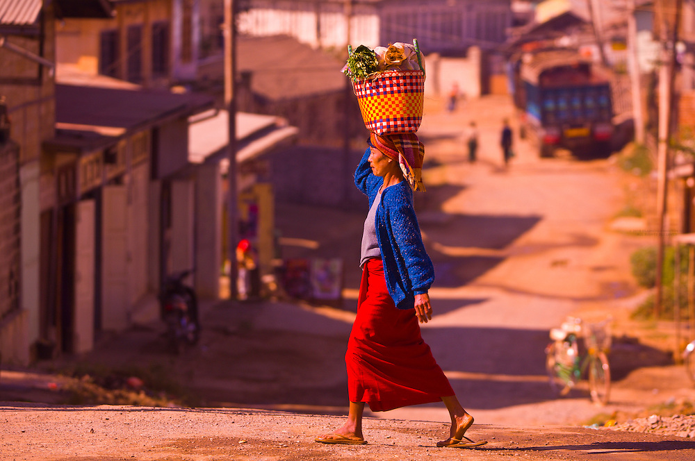 Woman on her way to the market in Aung Bann, Shan State, Myanmar (Burma)