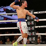 FORT LAUDERDALE, FL - FEBRUARY 15: Dat Nguyen celebrates his knock out of Abdiel Velazquez during the Bare Knuckle Fighting Championships at Greater Fort Lauderdale Convention Center on February 15, 2020 in Fort Lauderdale, Florida. (Photo by Alex Menendez/Getty Images) *** Local Caption *** Dat Nguyen; Abdiel Velazquez