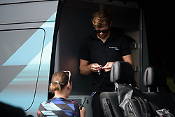 Lars Schiffner prepares the race radios at Grand Prix de Plouay Lorient Agglomération a 121.5 km road race in Plouay, France on August 26, 2017. (Photo by Sean Robinson/Velofocus)