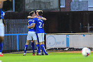 Andy Cannon, Joe Rafferty and Ian Henderson celebrate 2-1 during the EFL Cup match between Rochdale and Chesterfield at Spotland, Rochdale, England on 9 August 2016. Photo by Daniel Youngs.