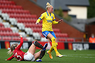Manchester United forward Alessia Russo (23) and Brighton and Hove Albion defender Danique Kerkdijk (5) during the FA Women's Super League match between Manchester United Women and Brighton and Hove Albion Women at Leigh Sports Village, Leigh, United Kingdom on 4 October 2020.