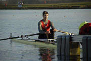 Eton, GREAT BRITAIN,  Graeme THOMAS, M1X, waits at the Start, GB Trials 3rd Winter assessment at,  Eton Rowing Centre, venue for the 2012 Olympic Rowing Regatta, Trials cut short due to weather conditions forecast for the second day Sunday  13/02/2011   [Photo, Karon Phillips/Intersport-images]