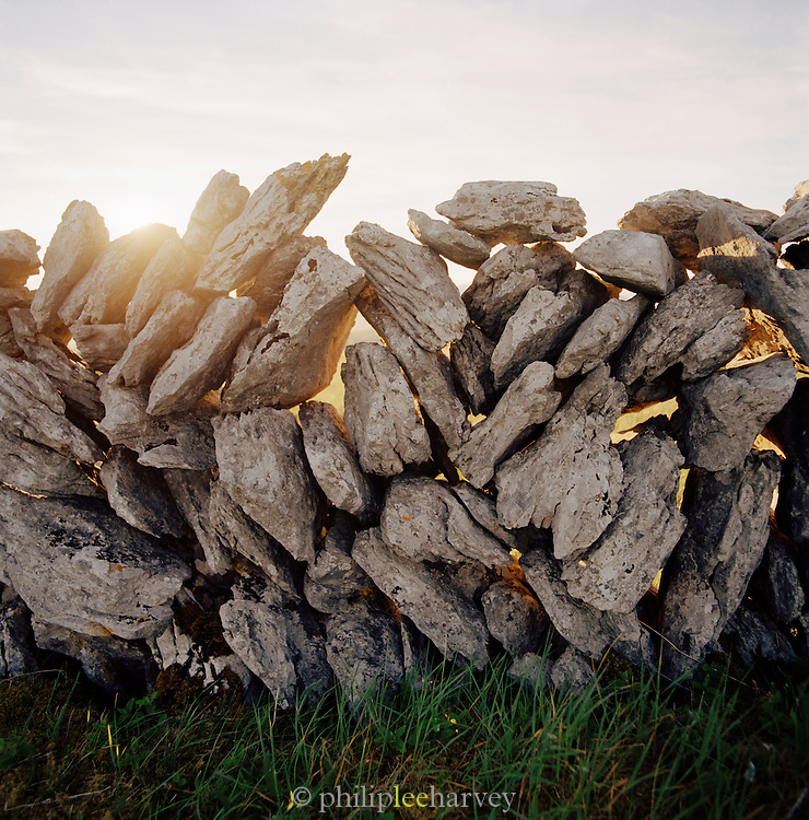 Dry stone wall in County Galway, Ireland