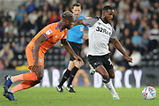 Derby County midfielder Florian Jozefzoon strikes the ball wins the ball during the EFL Sky Bet Championship match between Derby County and Cardiff City at the Pride Park, Derby, England on 13 September 2019.