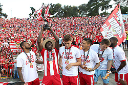 May 20, 2018 - Lisbon, Portugal - Aves' players celebrate with the trophy after winning the Portugal Cup Final football match CD Aves vs Sporting CP at the Jamor stadium in Oeiras, outskirts of Lisbon, on May 20, 2015. (Aves won 2-1) (Credit Image: © Pedro Fiuza/NurPhoto via ZUMA Press)