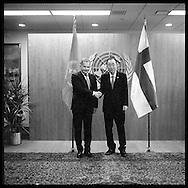 President of  Finland, Sauli Niinisto,,with United Nations Secretary General Ban Ki moon.