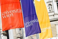 THEMENBILD - Universität Wien Flaggen. 650-Jahre- Jubiläum der Universität Wien. Die Universität Wien ist eine der größten Universitäten Mitteleuropas und wurde 1365 gegründet. Aufgenommen am 09.03.2015 in Wien, Österreich // University of Vienna flags. 650 Years of the University of Vienna Anniversary. The University of Vienna is a public university and the largest in Austria and was founded by Duke Rudolph IV in 1365. Austria on 2015/03/09. EXPA Pictures © 2015, PhotoCredit: EXPA/ Michael Gruber