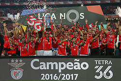 May 13, 2017 - Lisbon, Lisbon, Portugal - Benfica's defender Luisao from Brasil hold the Portuguese League trophy celebrating the tetra title with his team mates after the match between SL Benfica and Vitoria SC for the Portuguese Primeira Liga at Estadio da Luz on May 13, 2017 in Lisbon, Portugal. (Credit Image: © Dpi/NurPhoto via ZUMA Press)