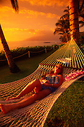 Woman in hammock, Maui, Hawaii<br />