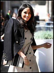 April 18, 2018 - London, United Kingdom - Prince Harry (Not shown) and MEGHAN MARKLE  attend a reception with delegates from the Commonwealth Youth Forum at the Queen Elizabeth II Conference Centre as part of the Commonwealth Heads of Government meeting 2018. (Credit Image: © Andrew Parsons/i-Images via ZUMA Press)
