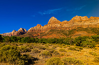 Rock formations of  Zion National Park from Springdale, Utah, USA
