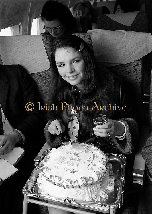 Dana (Rosemary Brown) returning home in triumph from her win in the Eurovision Song Contest. Her song, 'All Kinds of Everything', composed by Derry Lindsay and Jackie Smith, reached No 1 in the Irish and British charts. It was Irelands First victory in the contest. <br />