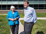05 SEPTEMBER 2019 - DES MOINES, IOWA: US Senator MICHAEL BENNET (D-CO), right, and CELESTE KELLING, the school administrator, tour the Jesse Franklin Taylor Education Center during an education roundtable Bennet hosted in Des Moines. Sen. Bennet is running for the Democratic nomination for the US Presidency in the 2020 election. Iowa traditionally hosts the the first election event of the presidential election cycle. The Iowa Caucuses will be on Feb. 3, 2020.              PHOTO BY JACK KURTZ