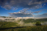Mist over Krywe in Sun River Velly, Bieszczady National Park, Poland