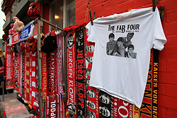 10th December 2017 - Premier League - Liverpool v Everton - A souvenir t-shirt depicting Liverpool players Mohamed Salah (L), Roberto Firmino (2L), Sadio Mane (2R) and Philippe Coutinho (R) as 'The Fab Four', The Beatles - Photo: Simon Stacpoole / Offside.