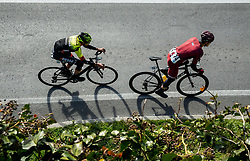 Kevin Colleoni of Conti Alberto Team and Felix Ritzinger of Maloja Pushbikers leading during the cycling race 6. VN Slovenske Istre / 6th Slovenian Istra Grand Prix, on February 24, 2019 in Izola/ Isola, Slovenia. Photo by Vid Ponikvar / Sportida
