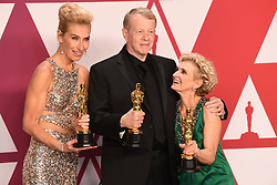 Greg Cannom, Kate Biscoe, and Patricia Delaney with the award for best Makeup and Hairstyling for Vice in the press room at the 91st Academy Awards held at the Dolby Theatre in Hollywood, Los Angeles, USA