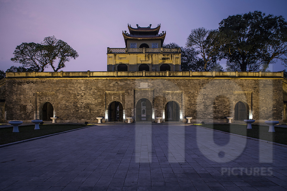 Citadel of Hanoi at dusk, also called Imperial Citadel of Thang Long. Antique Vietnamese architectural style. Hanoi, Vietnam, Asia.
