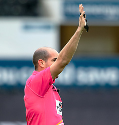 Referee Alexandre Ruiz awards a penalty<br /> <br /> Photographer Simon King/Replay Images<br /> <br /> European Rugby Challenge Cup Round 5 - Ospreys v Worcester Warriors - Saturday 12th January 2019 - Liberty Stadium - Swansea<br /> <br /> World Copyright © Replay Images . All rights reserved. info@replayimages.co.uk - http://replayimages.co.uk