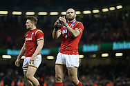 Jamie Roberts of Wales applauds the fans at the end of the game.  RBS Six nations championship 2016, Wales v Scotland at the Principality Stadium in Cardiff, South Wales on Saturday 13th February 2016. <br /> pic by  Andrew Orchard, Andrew Orchard sports photography.