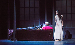 © Licensed to London News Pictures. 14/08/2013. Shanghai Ballet Company make their highly anticipated UK debut with performances of Jane Eyre, an original, innovative ballet production choreographed by Patrick de Bana. Picture shows: Fan Xiaofeng (Bertha) & Wu Husheng (Rochester). Photo credit: Tony Nandi/LNP