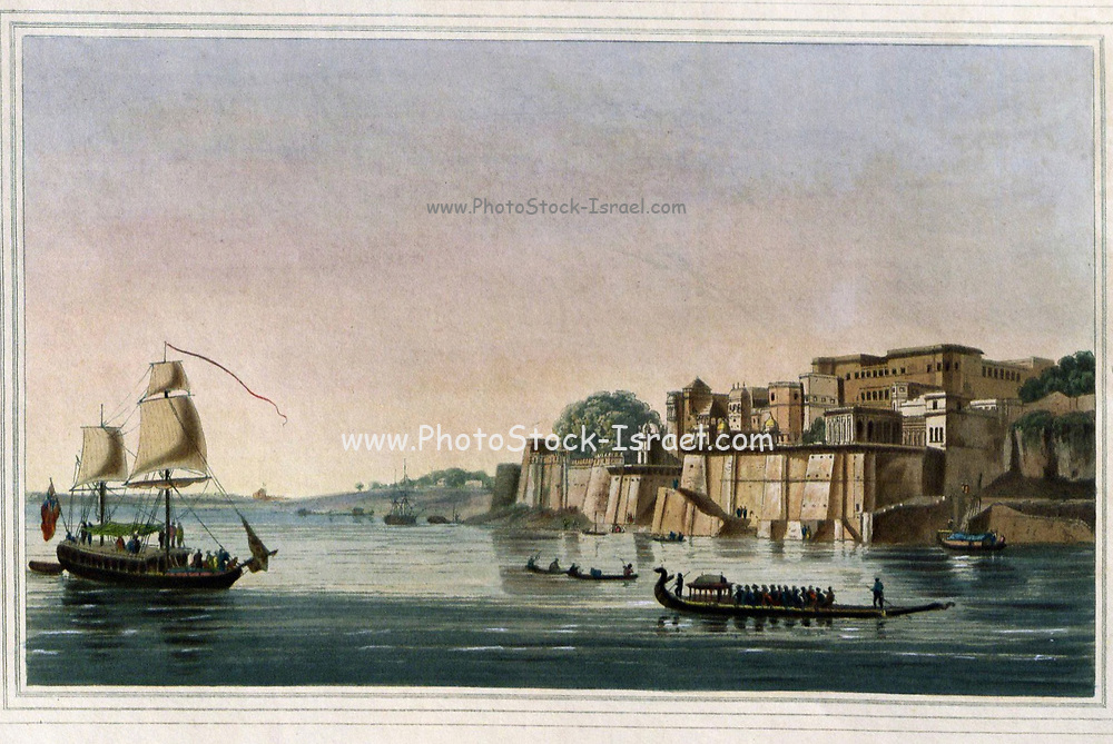 Ramnugur, Near Benares, [Varanasi] On The River Ganges; Ramnugur is a fort built by Rajah Bulwunt Sing, and considerably improved by his son Cheyt Sing. Near to this fort the latter Rajah began to erect a temple for the Hindoo worship, the basement story only of which is completed ; it is of freestone, and much admired for the richness of its ornamental parts, and the very extraordinary degree of sharpness and precision in their execution. Ramnugur is about three miles above Bernares. From the book ' Oriental scenery: one hundred and fifty views of the architecture, antiquities and landscape scenery of Hindoostan ' by Thomas Daniell, and William Daniell, Published in London by the Authors January 1, 1812