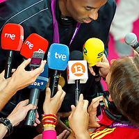 Kobe Bryant is interviewed by the press after team USA basketball won the gold medal game against Spain during the 2012 London Summer Olympics.