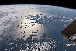April 26, 2018 - Greece - Image Released Today: This view from above the nation of Turkey looks out across the Aegean Sea, over Greece and onto the Ionian Sea where Sicily and the boot of Italy are barely visible. The sun's glint on the Mediterranean waters highlight the Greek islands while clouds cloak the island of Crete. This Earth observation image was taken by a member of the Expedition 55 crew aboard the International Space Station on April 2, 2018. (Credit Image: ? NASA/ZUMA Wire/ZUMAPRESS.com)