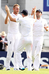File photo dated 20-06-2014 of England's Stuart Broad celebrates his hat-trick on day one of the second Investec Test match at Headingley, Leeds.