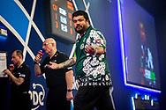 Danny Baggish (USA) reacts, during the William Hill World Darts Championship at Alexandra Palace, London, United Kingdom on 28 December 2020.