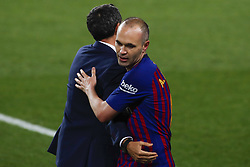 May 20, 2018 - Barcelona, Catalonia, Spain - May 20, 2018 - Camp Nou, Barcelona, Spain - LaLiga Santander- FC Barcelona v Real Sociedad; Andres Iniesta of FC Barcelona leaves the pitch during his lat match with the team. (Credit Image: © Marc Dominguez via ZUMA Wire)