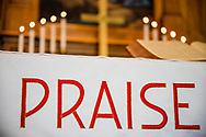 """An altar parament with the word """"praise"""" at Gethsemane Lutheran Church on Tuesday, July 28, 2020, in St. Louis.  LCMS Communications/Erik M. Lunsford"""