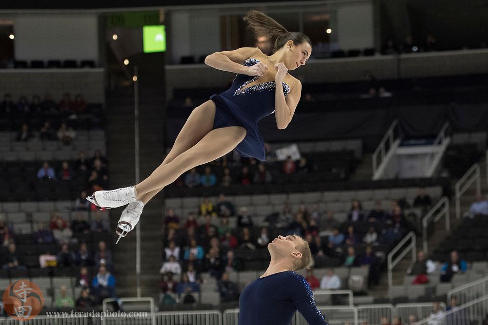 January 4, 2018; San Jose, CA, USA; Jessica Pfund and Joshua Santillan performs in the pairs short program during the 2018 U.S. Figure Skating Championships at SAP Center.