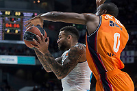 Real Madrid Jeffery Taylor and Valencia Basket Will Thomas during Turkish Airlines Euroleague match between Real Madrid and Valencia Basket at Wizink Center in Madrid, Spain. December 19, 2017. (ALTERPHOTOS/Borja B.Hojas)