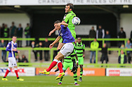 Forest Green Rovers Christian Doidge(9) heads the ball under pressure from Exeter City's Jordan Tillson(6) during the EFL Sky Bet League 2 match between Forest Green Rovers and Exeter City at the New Lawn, Forest Green, United Kingdom on 9 September 2017. Photo by Shane Healey.