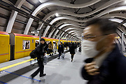 Commuters and tourists on the platform of the new Ginza line station in Shibuya, Tokyo, Japan. Thursday January 9th 2020. The new Ginza Line station opened on January 3rd 2020. Daily about 220,000 people  use the Ginza Line at Shibuya Station but no major renovation work on the station had been carried out since it opened in 1938.     <br /> Work for the station move began from 2009 as part of  major redevelopment projects in the surrounding area.