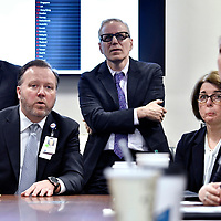 BOSTON, 3/5/2020 -  Paul Biddinger, Director of the Center for Disaster Medicine, and Vice Chairman for Emergency Preparedness in the Department of Emergency Medicine, seated at left, leads a Hospital Incident Comand meeting on the response to COVID-19 at Massachusetts General Hospital. Josh Reynolds for for The Washington Post  (Bronwen Latimer, Emma Brown)
