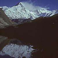 NEPAL, HIMALAYA. Cho Oyu, world's 8th highest peak, reflected in lake, Gokyo Valley, Khumbu Region