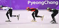 PYEONGCHANG, Feb. 17, 2018  Li Jinyu of China (C)competes during ladies' 1500m final of short track speed skating at 2018 PyeongChang Winter Olympic Games at Gangneung Ice Arena, Gangneung, South Korea, Feb.17, 2018. Li Jinyu claimed second place in a time of 2:25.703. (Credit Image: © Wang Haofei/Xinhua via ZUMA Wire)