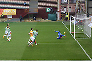 GOAL 0-1 Mohamed Elyounoussi (Celtic) scores the opener during the Scottish Premiership match between Motherwell and Celtic at Fir Park, Motherwell, Scotland on 8 November 2020.