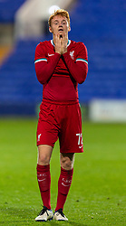 BIRKENHEAD, ENGLAND - Tuesday, September 29, 2020: Liverpool's Sepp Van Den Berg looks dejected as his side lose to Tranmere Rovers during the EFL Trophy Northern Group D match between Tranmere Rovers FC and Liverpool FC Under-21's at Prenton Park. Tranmere Rovers won 3-2. (Pic by David Rawcliffe/Propaganda)