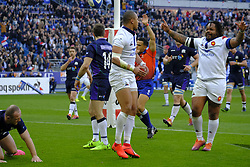 February 23, 2019 - Saint Denis, Seine Saint Denis, France - Joy of the Center of French Team MATHIEU BASTAREAUD after the second try scored by GAEL FICKOU during the Guinness Six Nations Rugby tournament between France and Scotland at the Stade de France - St Denis - France..France won 27-10 (Credit Image: © Pierre Stevenin/ZUMA Wire)