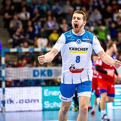 Jubel: Rudolf Faluvegi (TVB Stuttgart #8) beim Spiel in der Handball Bundesliga, TVB 1898 Stuttgart - HBW Balingen-Weilstetten.<br /> <br /> Foto © PIX-Sportfotos *** Foto ist honorarpflichtig! *** Auf Anfrage in hoeherer Qualitaet/Aufloesung. Belegexemplar erbeten. Veroeffentlichung ausschliesslich fuer journalistisch-publizistische Zwecke. For editorial use only.