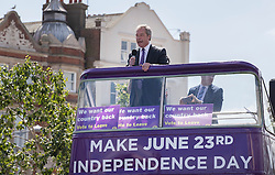 © Licensed to London News Pictures. 20/06/2016. Clacton-on-Sea, UK . UKIP party leader Nigel Farage arrives on his battle bus to campaign for Brexit in the last few days of the EU referendum. Photo credit: Peter Macdiarmid/LNP